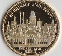 Brandenburger Tor Gedenkmünze Cu vergoldet 54 Gramm 50 mm Durchm. Polierte Platt