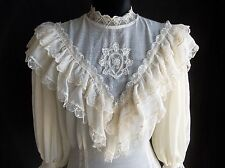 Vintage Ruffles Victorian Ivory Blouse Lace  Detail Top RagoMuffin Small