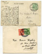 1911/20 SHETLAND postcard +cover with EVII ½d + KGV ½d &1d with East Yell c.d.s.