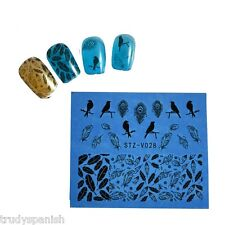 Nail Art Water Decals Transfers Black Birds Peacocks Feathers Gel Polish (V028)