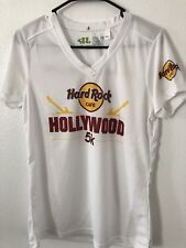 RUN Hard Rock Cafe HRC HOLLYWOOD 5 K Guitar V Neck T-Shirt Top Women's  M