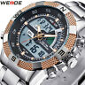 Mens Waterproof Stainless Steel Band Sport LED Digital Analog Quartz Wrist Watch