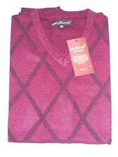 "4X St Patrick Mens Wine Red Solid Argyle Sweater Vest 31""L 25.5""W 4XL V-neck"