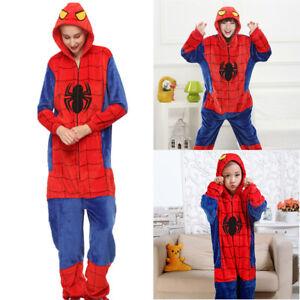 Comfortable Adults Kids Pyjamas Spider Man Cosplay Costume Sleepwear Nightwear