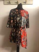 Zara Kimono Style Top Bnwt M Stunning Design Designer Look Big Tie A Symetrical