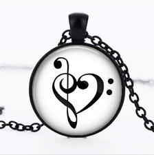 Bass Clef Heart Black Glass Cabochon Necklace chain Pendant Wholesale