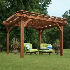 Outdoor Cedar Pergola Backyard Patio Deck Free Standing Wooden Gazebo 10 x 10