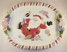 Fitz and Floyd Candy Christmas Santa Platter, new in box