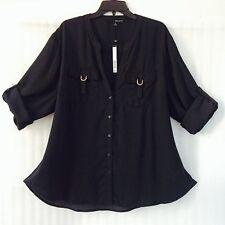 Harve Benard Womens Plus Shirt size 26/24/3X Black Blutton Down Top New $ 98