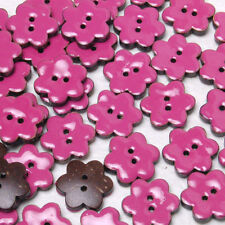 B556 Enamel Coconut Pink Flower Sewing Craft Shell Buttons 16mm 30pcs