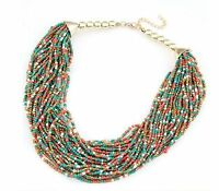 Women Bohemia Layers Crystal Chain Pendant Choker Collar Bib Statement Necklace