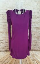 MARKS AND SPENCER Womens Purple Long Sleeve Frill Style Stretch Top Size 12