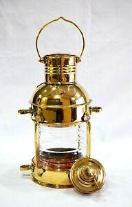 """Lantern Marine Anchor 10"""" Decorative Oil Lamp Nautical Ship Lantern Brass Finish"""
