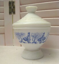 Vintage Milk Glass Jar Lidded Footed Candy Dish Blue Asian Scene Made in Belgium
