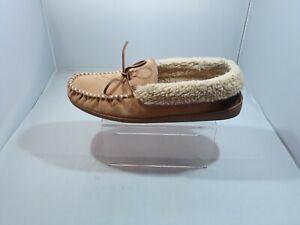 Minnetonka Men's Moccasin Slipper Loafers Size 13 Leather Faux Fur Lining