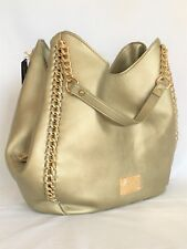 NWT BEBE Collette Triple Entry Shoulder Handbag Gold Metallic