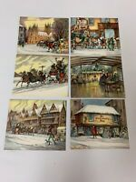 Lot of 6 Vintage Christmas Cards A Gibson Card NO envelopes Unused