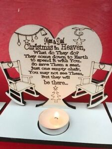 1 x  CHRISTMAS IN HEAVEN POEM ON HEART WITH TEA LIGHTER HOLDER PERSONALISED