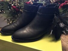 Gianni Bini Rorrie Fringe Leather Booties Boots Size 8 Black NEW/IN BOX