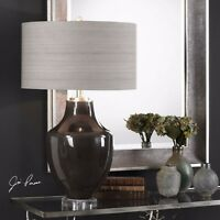 NEW MODERN HIGH GLOSS CERAMIC TABLE LAMP LINEN SHADE CRYSTAL BASE SILVER METAL