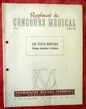 Concours Médical 12/03/1959 - N°12 - Les TESTS MENTAUX.