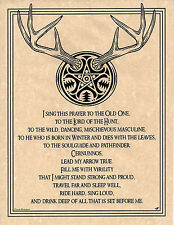PRAYER TO CERNUNNOS LORD OF THE HUNT Invocation Page Poster  Pagan 8 1/2 x 11