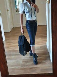 Topshop Lrge Rucksack Backpack Bag Handbag Black Leather hippie Hobo Flapper GC