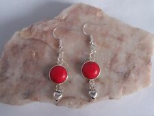 Lovely Red Howlite,12mm Cabochon With Heart,925 Sterling Silver Hook Earrings.
