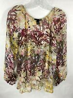 H&M Women's Size 6 Multi Color Floral Sheer Long Sleeve Scoop Neck Top Blouse