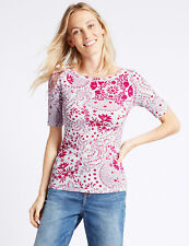 BNWT M&S Collection Ladies Pink White Floral Half Sleeve Top Size 20