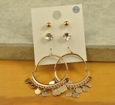 Forever 21 gold stud crystal ball cute earrings 3 PAIR