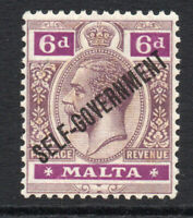 Malta 6d Stamp c1922 Bright Purple Mounted Mint Hinged (wmk script)(3023)