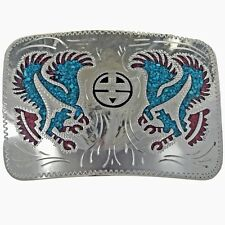 Silver Hand Engraved Belt Buckle Turquoise Coral Inlay