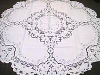 "White Wedding Events Embroidered Fabric Tablecloth 72x72"" Round 6 Napkins"