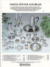 VINTAGE AD SHEET #3191 - ONEIDA PEWTER AND BRASS