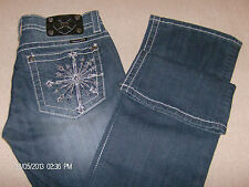 Miss Me Jeans New with Tags Dark Blue Size 29  JP5650BV Boot Cut Bling 32 Inseam
