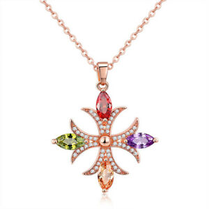 Cross Style Natural Amethyst Peridot Garnet Rose Gold Plated Necklace Pendants