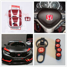 RACING SET Red H Emblem 3PCS Front & Rear For 2016-18 HONDA CIVIC HATCHBACK