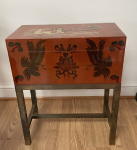 Asian Lacquered Box With Brass Stand