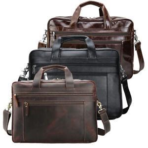 """Men Leather Business Briefcase Handbag 17"""" Laptop Bag Shoulder Bag Travel Bag"""
