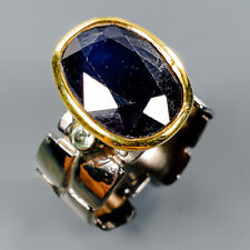 Handmade Natural Blue Sapphire 925 Sterling Silver Ring Size 7.5/R113190