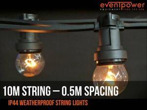 10m Festoon Outdoor Party String Lights 50cm lampholder spacing – B22 socket
