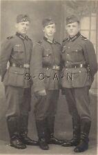 WWII German RP- Portrait- Army Soldier- Uniform- Overseas Hat- Three Friends