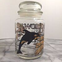 Vintage Sea World Souvenir Candy Jar with Lid 1977 Black and Gold