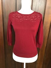Women's Talbots Petite Wine Red 3/4 Sleeve Sweater Size P