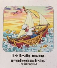Mary Engelbreit Handmade Magnet-Life Is Like Sailing. You Can Use Any Wind