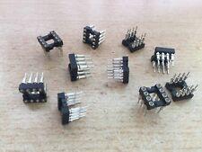 """IC Socket 8 Pines 0.3"""" Cola de Soldadura 0.124"""" 2.54 10 piezas HU315"""