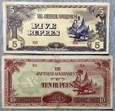 New listing Japanese Occupation Ww2 - Burma - 5 Rupees, 10 Rupees - 2 Notes