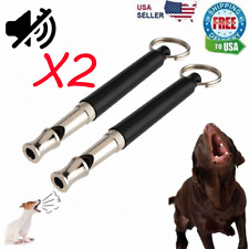 2pc Dog Training Whistle UltraSonic Obedience Stop Barking Pet Sound Pitch Black