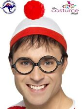 Wheres Wally Hat and Glasses Mens Instant Costume Kit